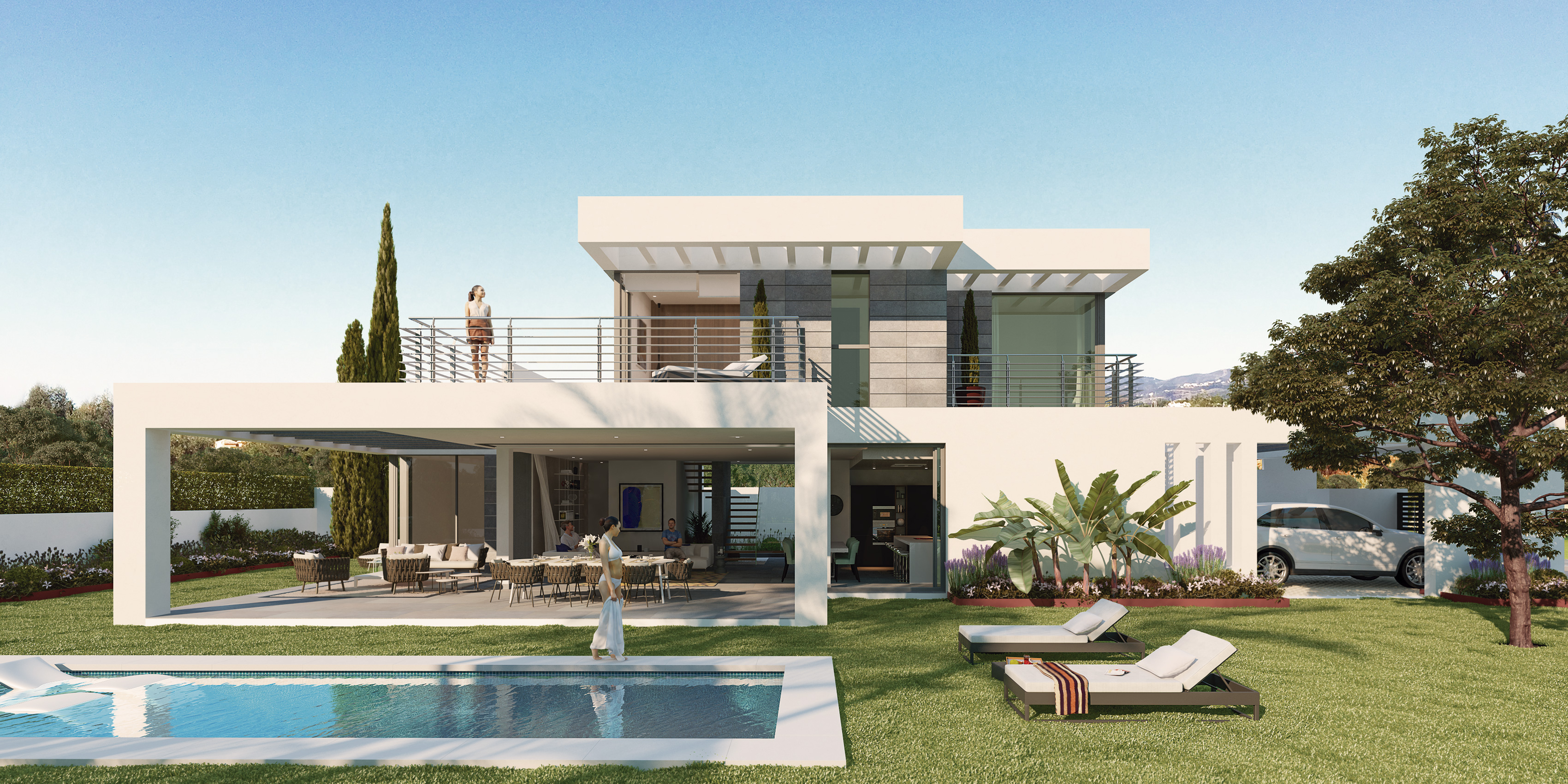 Luxury contemporary villas with excellent views over the surrounding countryside and nearby sea