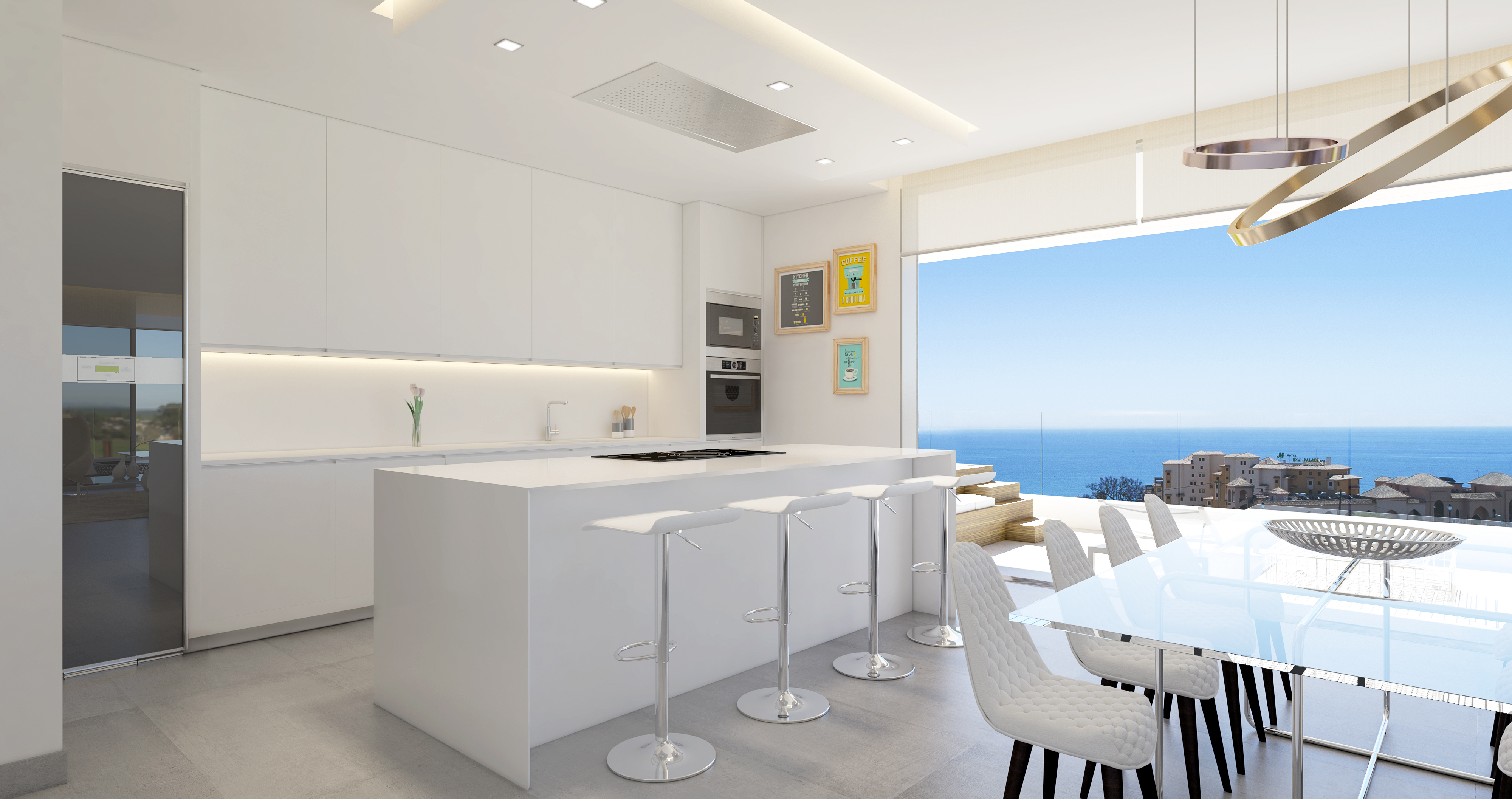 Modern apartment with large terrace where you can dine al fresco overlooking The Mediterranean