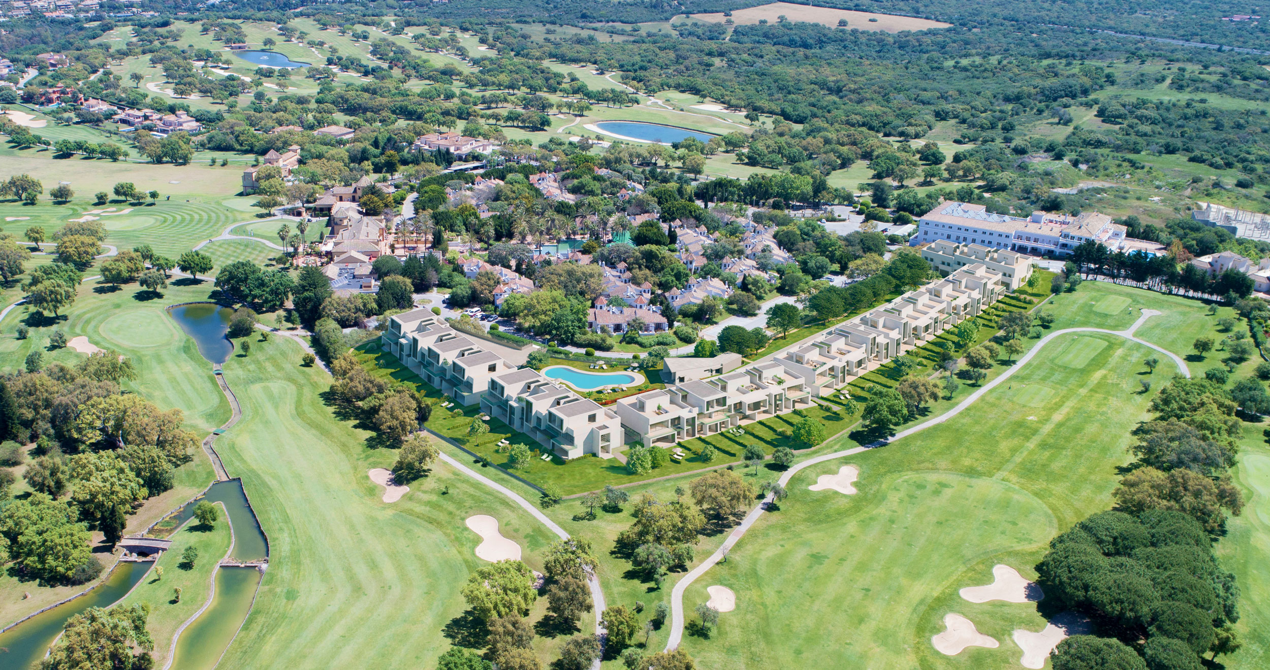 Exclusive terraced houses surrounded by a golf course