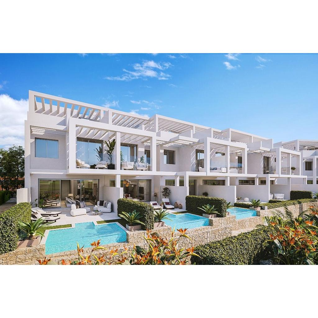 Townhouses with spectacular sea views located in Bahía de Las Rocas urbanization, Manilva